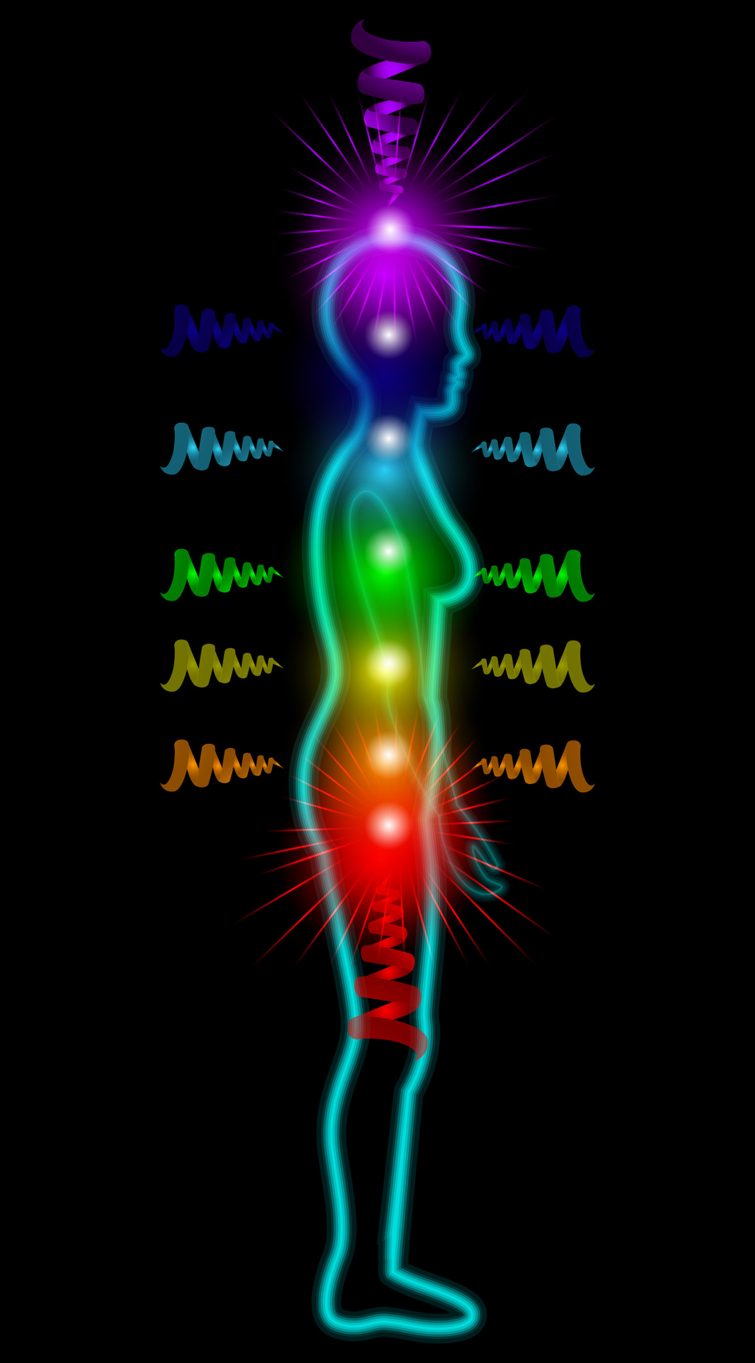 34866984 - woman silhouette on the black background with shining chakras